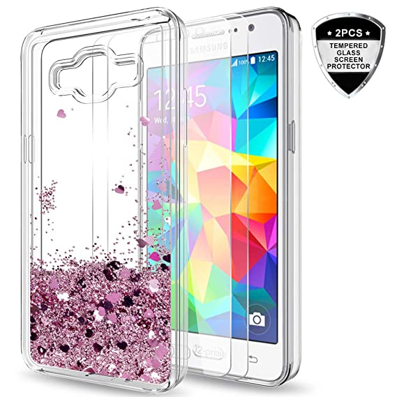 factory authentic b315e e535d Galaxy Grand Prime,J2 Prime Case with Tempered Glass Screen Protector [2  Pack] for Girls Women,LeYi Glitter Shiny Liquid Clear TPU Protective Phone  ...