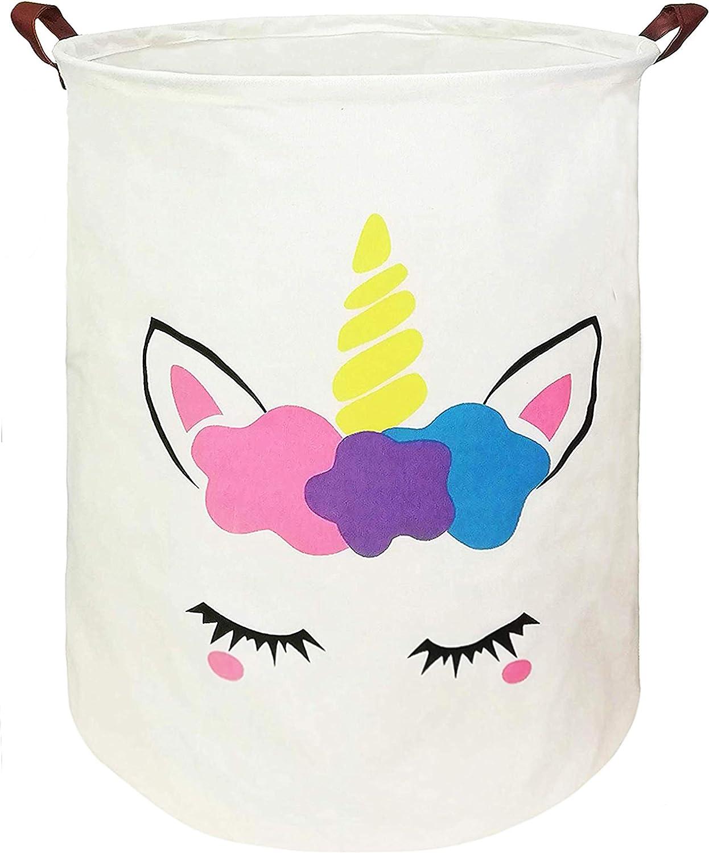 KUNRO Large Sized Round Storage Basket Waterproof Coating Organizer Bin Laundry Hamper for Nursery Clothes Toys (Flower Unicorn)