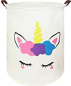 KUNRO Large Sized Round Storage Basket Waterproof Coating Organizer Bin Laundry Hamper for Nursery Clothes Toys (Flower Unicorn)