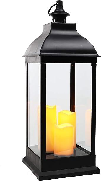 Xxl Laterne Mit 3 Led Kerzen Deko Laterne 70 Cm Mit Flackerlicht Schwarz Batterie Betrieben Amazon De Beleuchtung
