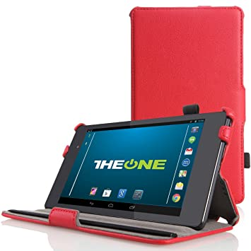 Google Nexus 7 Case Multi angle Stand Smart Cover for 2nd Gen Nexus 7  2013  By TheONE   Red Tablet Accessories