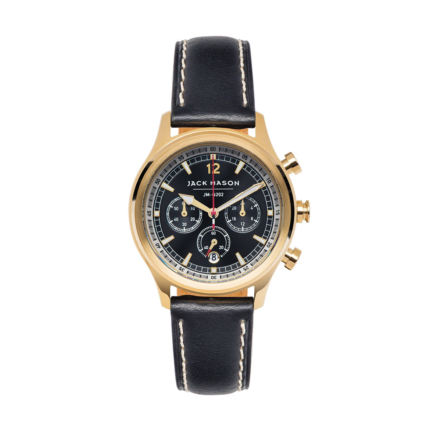 Jack Mason Women's Chronograph Watch Nautical Black Italian Leather Strap JM-N202-004