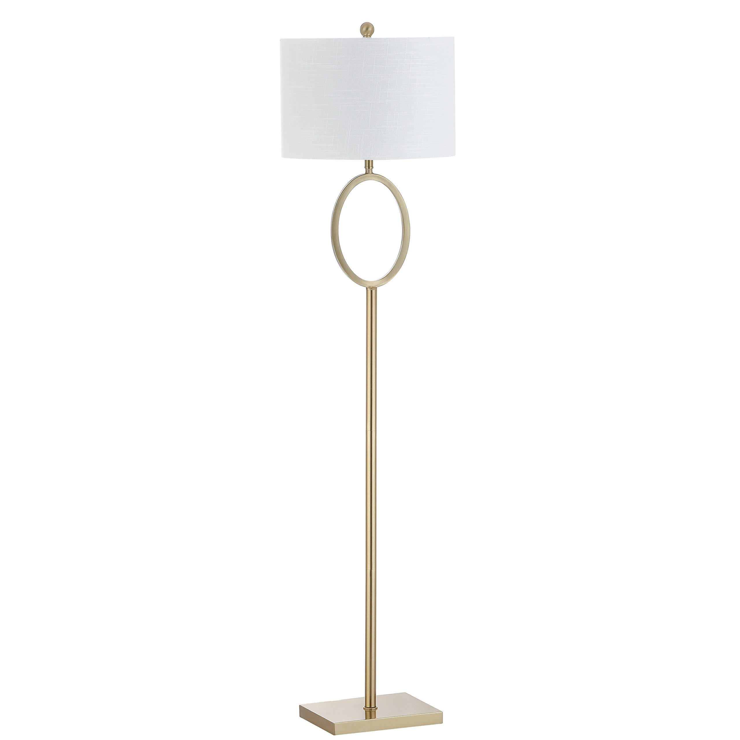 Jonathan Y JYL1089A Floor Lamp, 15'' x 61'' x 15'', Brass Gold with White Shade