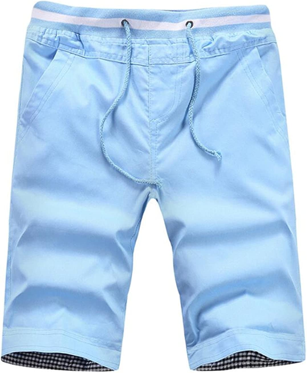 KLJR-Men Summer Flat Front Shorts Casual Cotton Slim Fit Chino Shorts Lake Blue US 3XL