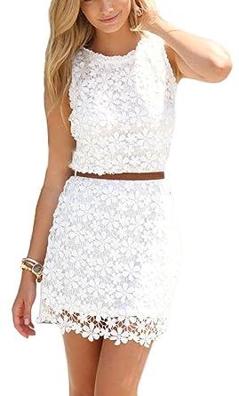 Lobty Damen Kleid Sommer Kurz Etuikleid Spitzekleid Sommerkleid