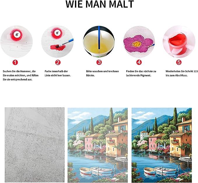 Malen nach Zahlen Kit DIY /Ölgem/älde Kit f/ür Kinder und Erwachsene/ /Zug 40,6/x 50,8/cm Framed