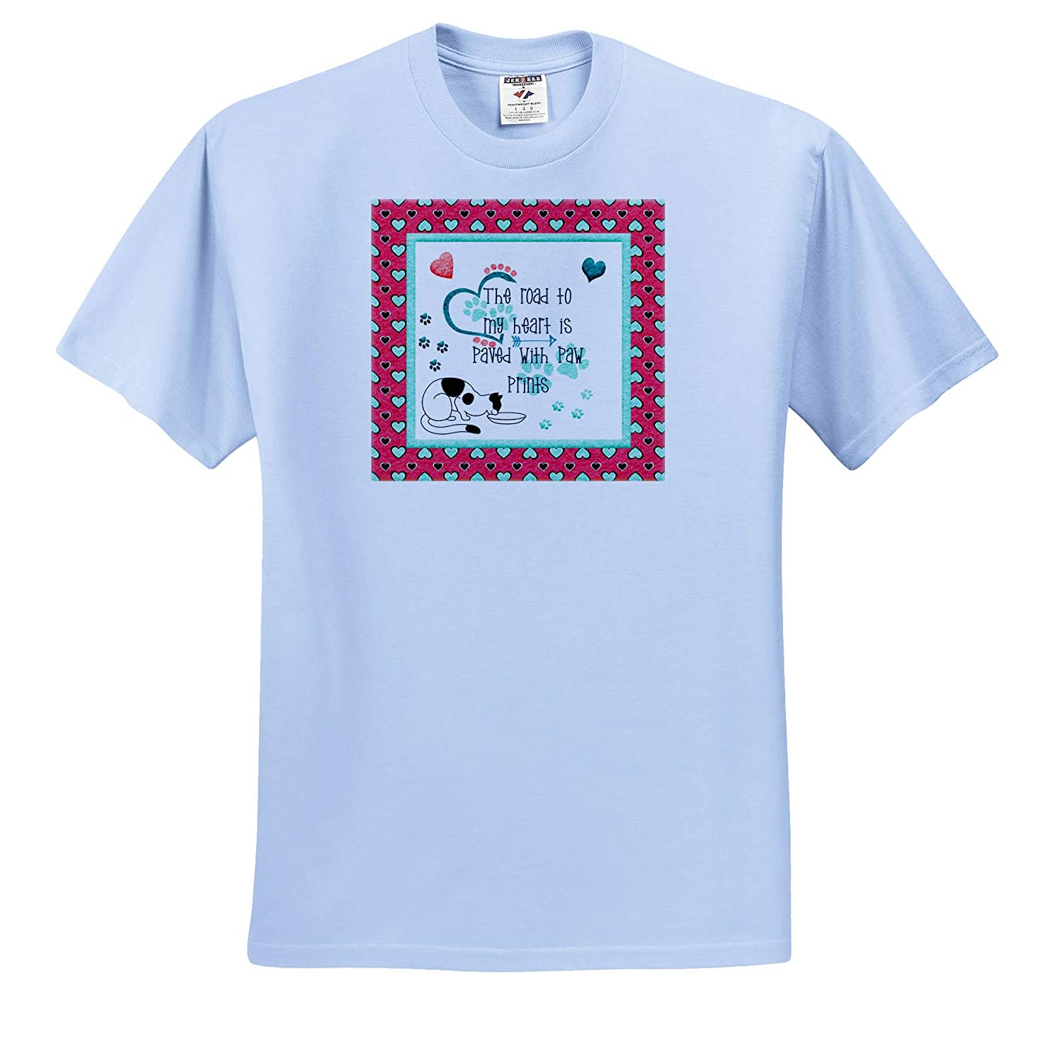 T-Shirts 3dRose Beverly Turner Valentine Design Blue Pink Road to My Heart is Paved by Paw Prints Cat Eating