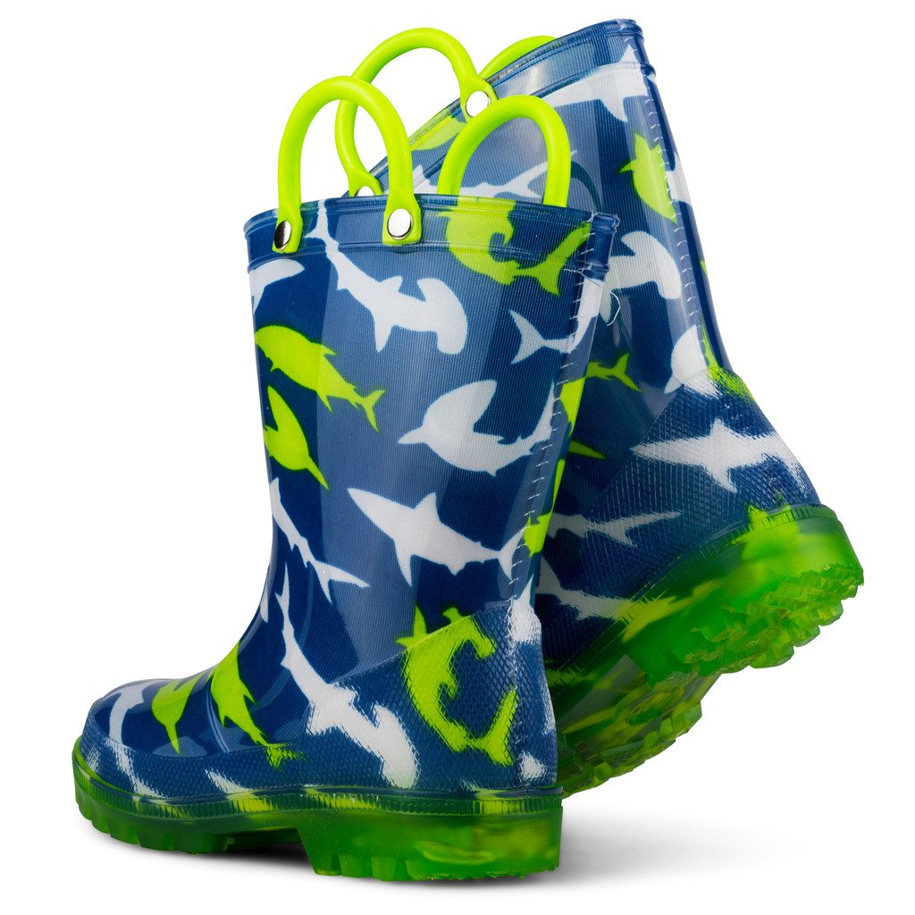 Chillipop Light Up Rainboots for Boys, Girls and Toddlers with Fun Kid Prints with ''5 Lights'' Shark Blue 7 M Toddler by Chillipop (Image #6)
