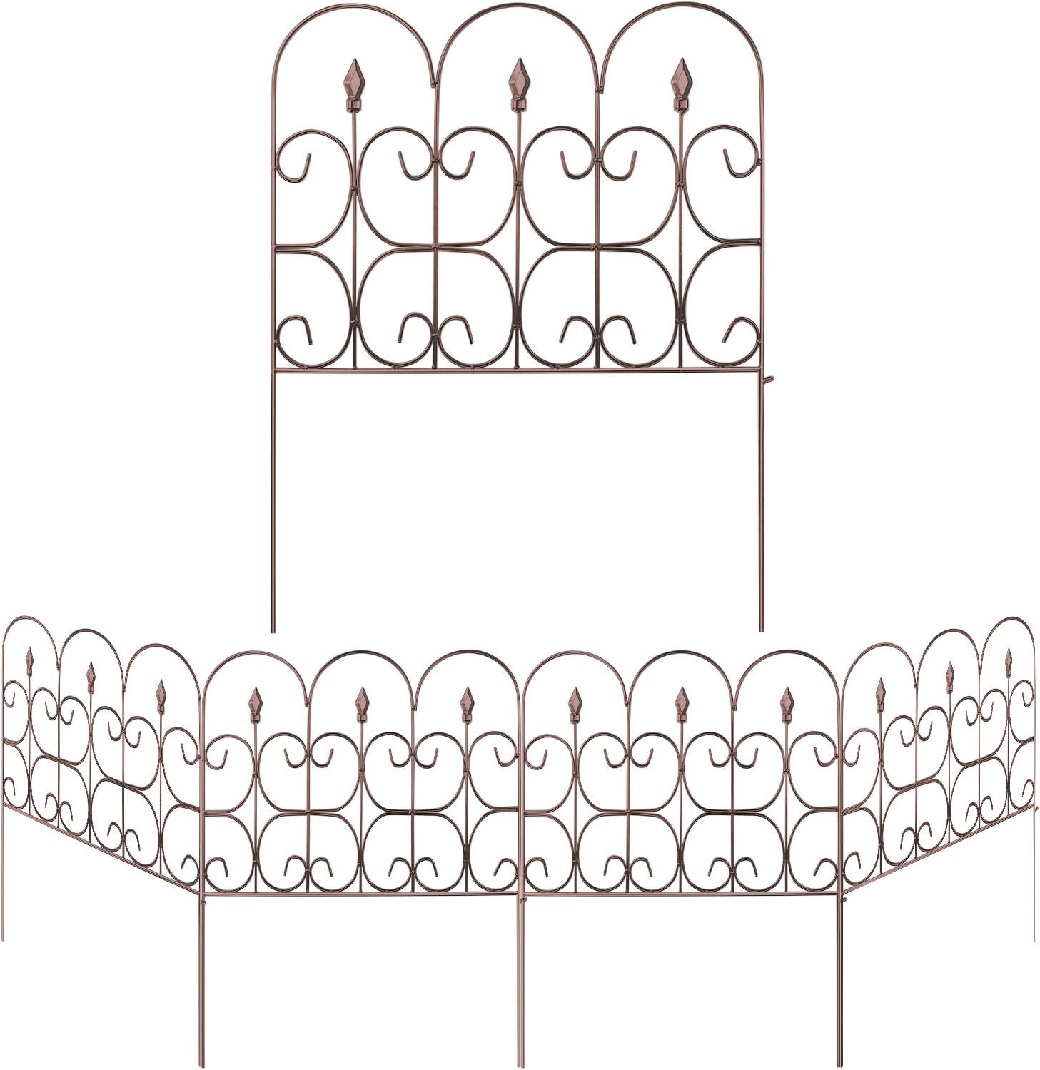 Amagabeli Decorative Garden Fence Outdoor 32in x 10ft Brown Coated Metal Rustproof Landscape Wrought Iron Wire Border Folding Patio Fences Flower Bed Fencing Barrier Section Panels Decor Picket Edging