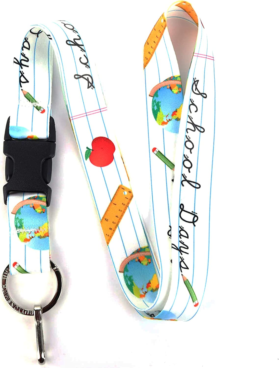 Buttonsmith School Days Premium Lanyard - with Buckle and Flat Ring - Made in The USA