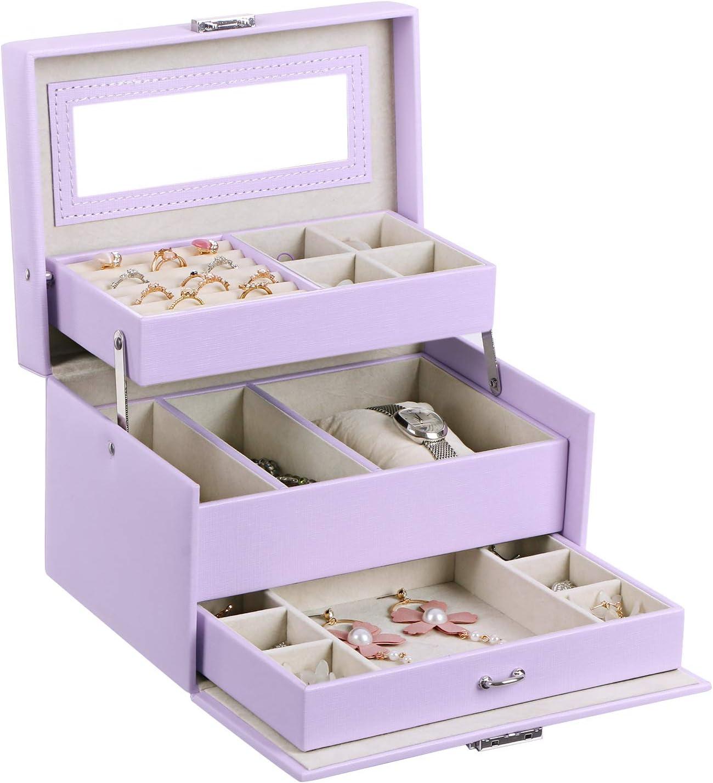 Amazon Com Bewishome Girls Jewelry Box Jewelry Organizer With Lock Mirror Jewelry Display Storage Case Holder Portable Travel Case For Women Girls Kids Purple Ssh77p Home Kitchen