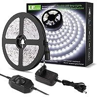 LE LED Luces de Tiras Regulables, 5M 1200lm, Blanco Frío 6000K, 300 LEDs, Enchufe en la tira de luz para gabinete…