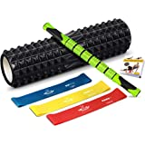 Heathyoga Foam Roller 7 in 1 Kit for Muscle Massage with Roller Stick, 3 Resistance bands, Carry bag and Exercise Book, 45CM Length
