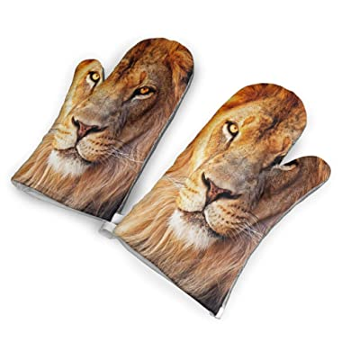 Feederm African Lion Oven Mitts,Professional Heat Resistant Microwave Oven Insulation Thickening Gloves Baking Pot Mittens Soft Inner Lining Kitchen Cooking
