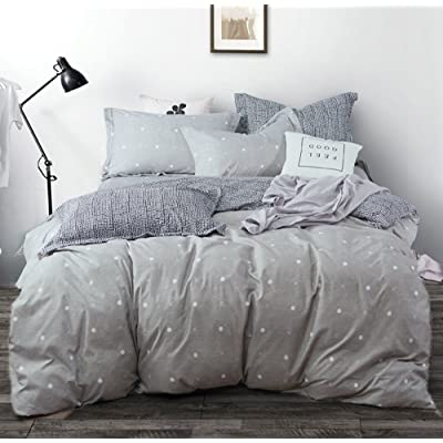 Uozzi Bedding 3 Piece Duvet Cover Set with Zipper Closure,Gray Printed Pattern with dot and cross Reversible, Brushed Microfiber,New Year gift for Family (Dot&cross, Queen90 x 90)