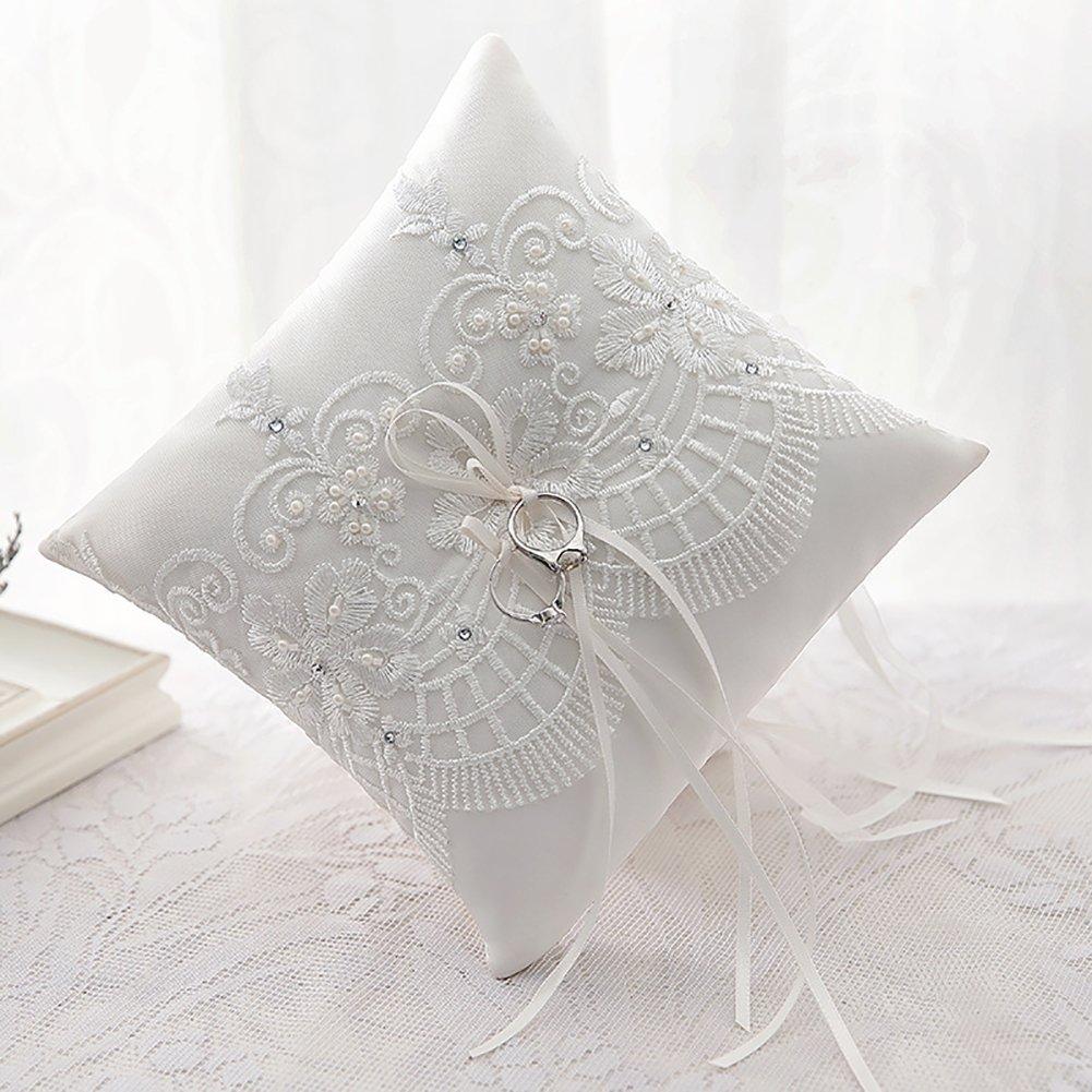 romantico Silktalk Cuscino per fedi nunziali 21 cm x 21 cm Art D/éco C realizzato a mano