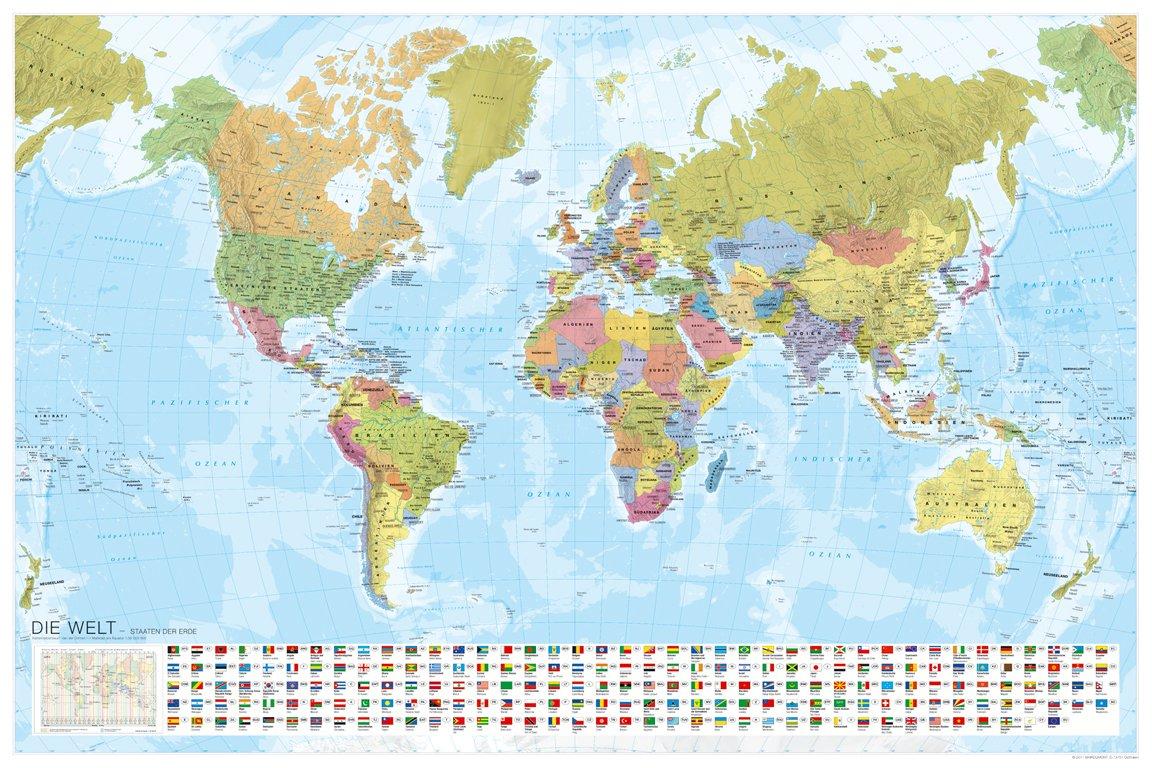 Weltkarte Staaten Der Erde Mit Flaggen 1 35 Mio Mairdumont
