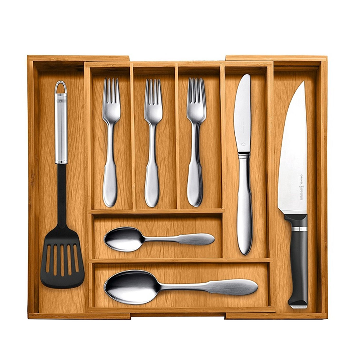 "DenSan BTO35 Expandable 100% Pure Bamboo Tableware Organizer,6-8 Adjustable Slots Organizer for Cutlery,Flatware,Wooden and Stainless Utensils,16.54""Long x11.81""Wide x2.36""high"