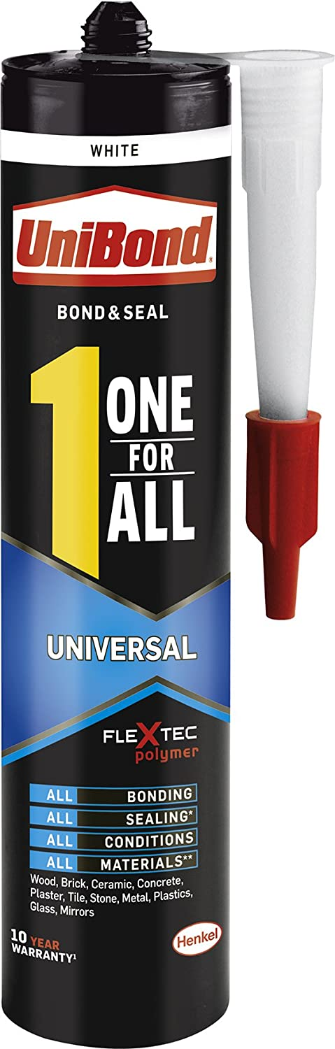 UniBond One For All Crystal Adhesive & Sealant / Transparent, Strong Adhesion, All-Purpose Glue, Solvent Free / Bond, Seal, Mount, Fill / 1x 290g Henkel Ldt 2003457