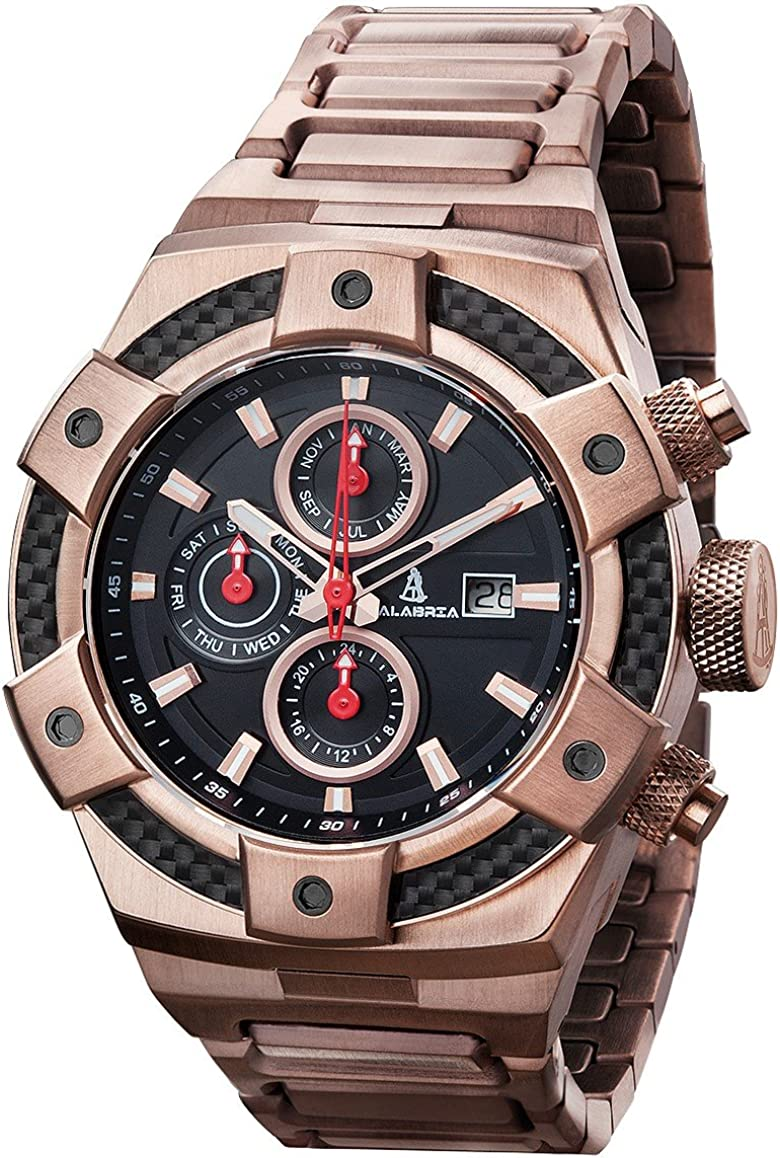 CALABRIA – ARMATO Forte – Rose Gold – Black Dial Men s Watch with Carbon Fiber Bezel Stainless Steel Band