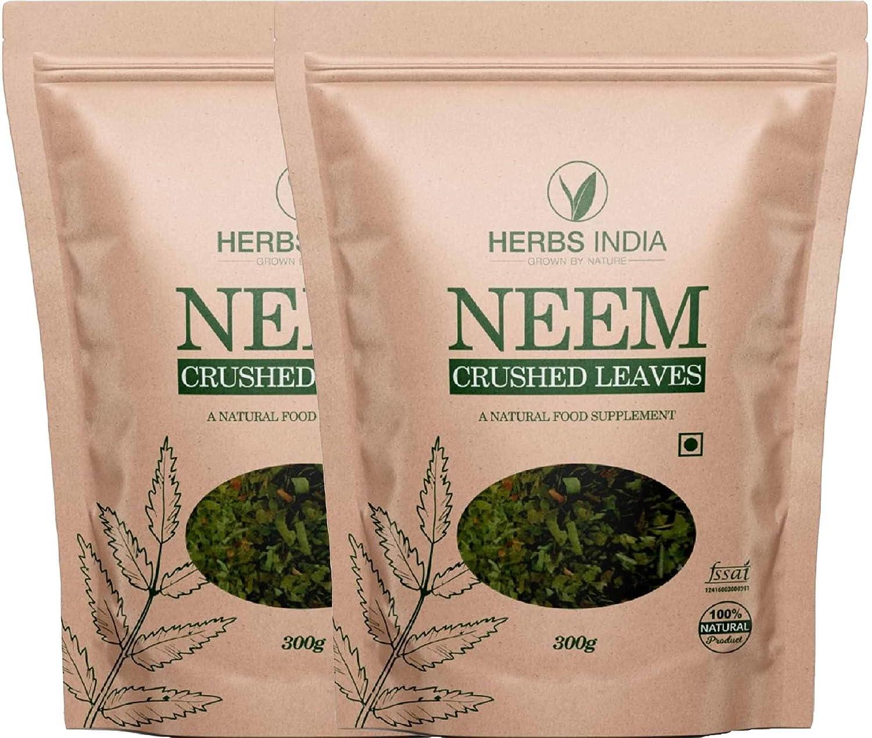 Neem Leaves Crushed (Not Powder), Good to Make Fresh Neem Leaf Tea 600 Grams (21.2 Oz), Herbal Supplements - HerbsIndia