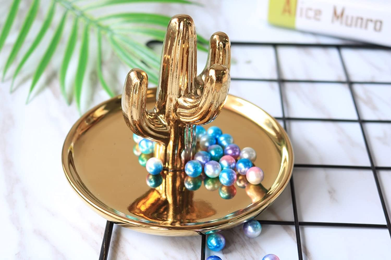 Purzest Ceramic Ring Holder Dish Home Decor Organizer,Cactus,Gold