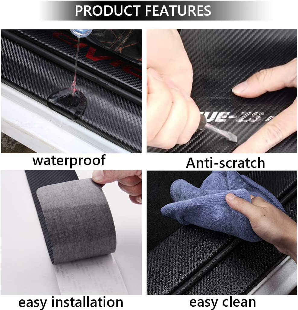 BLUE BOYUER 4PCS Carbon Fibre Leather Car Door Sill Decoration Scuff Plate Guard Sills Protector Trim,Welcome Pedal Protect For Honda 4-Door Civic 2005-2020