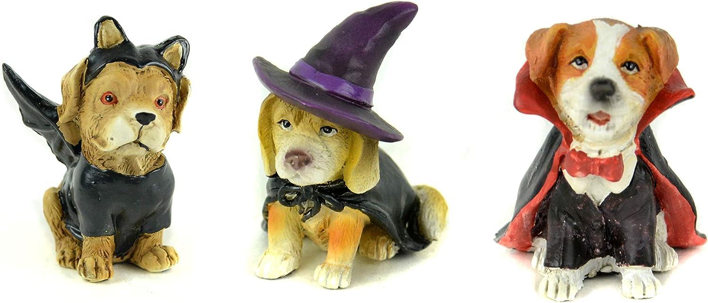 Touch of Nature Halloween Assortments - Miniature Dog Trick or Treaters - Halloween Decor - Halloween Fairy Garden - Halloween Miniatures (Dogs in Costume(3))