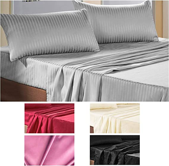 Juego de cama de matrimonio de raso. Set de sábana y sábana bajera, con 2 fundas para almohada, en 6 colores: Amazon.es: Hogar