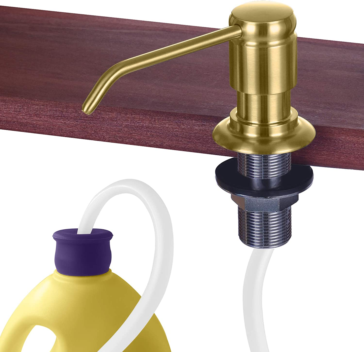 "Gagal Soap Dispenser (Brushed Gold) and Extension Tube Kit for Kitchen Sink, Complete Brass Pump with 40"" Silicone Tube Connect to The Bottle Directly, Say Goodbye to Frequent Refills"