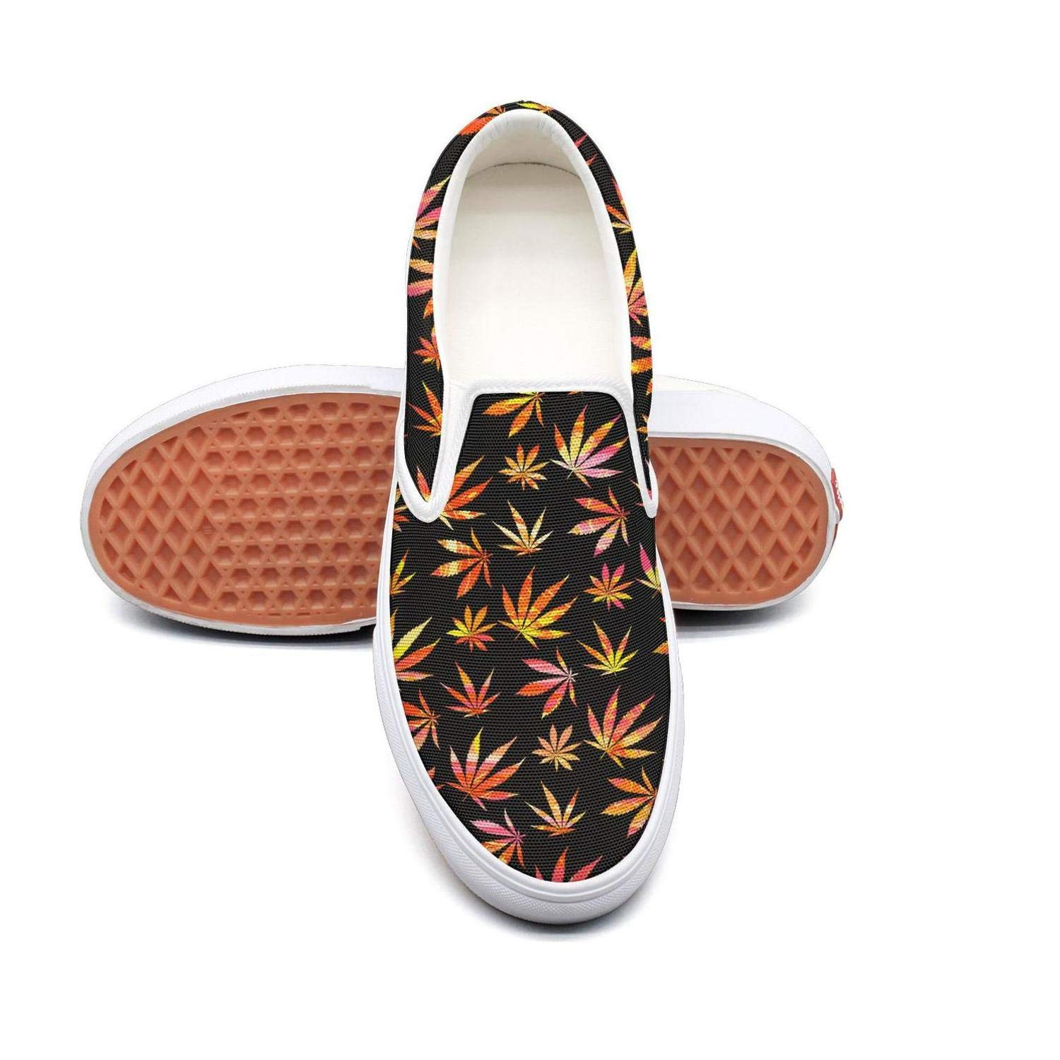 Sernfinjdr Women's Cannabis Leaf Art Fashion Casual Canvas Slip on Shoes Comfortable Golf Sneakers Shoes