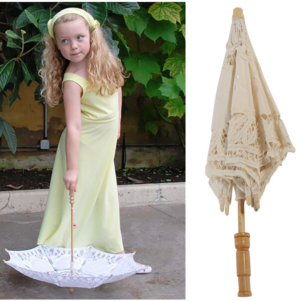 Kids Lace Sun Umbrella,Gsha Handmade Cotton Parasol Umbrella Costume Accessory 3-5Years by Gsha (Image #4)