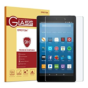 OMOTON Screen Protector for All-New Fire HD 8 (2018/2017/2016 Release), Tempered Glass/HD / 9H Hardness