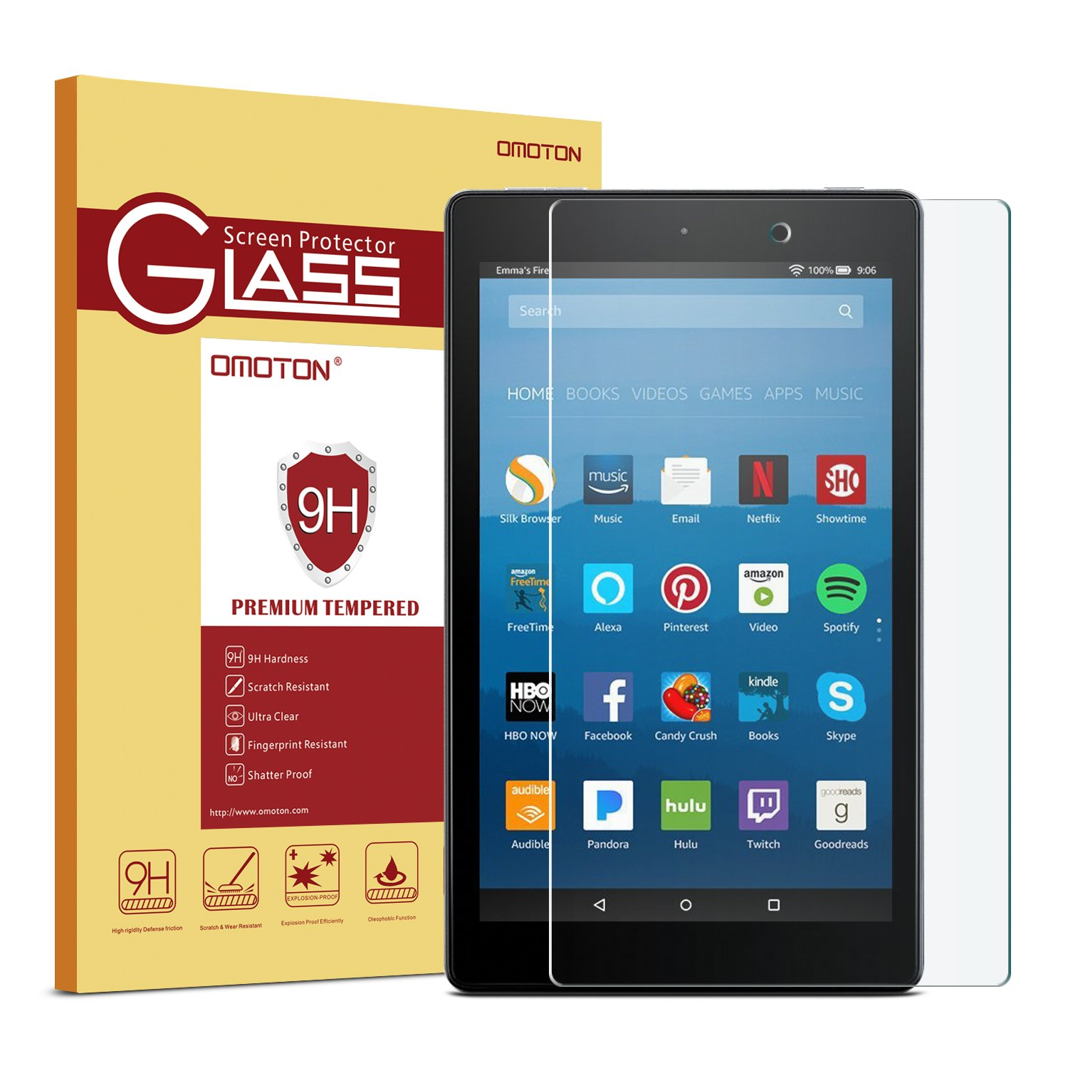 OMOTON Fire HD 8 Screen Protector for All-New Fire HD 8 (2018/2017/2016 Release), Tempered Glass/HD/9H Hardness, Clear