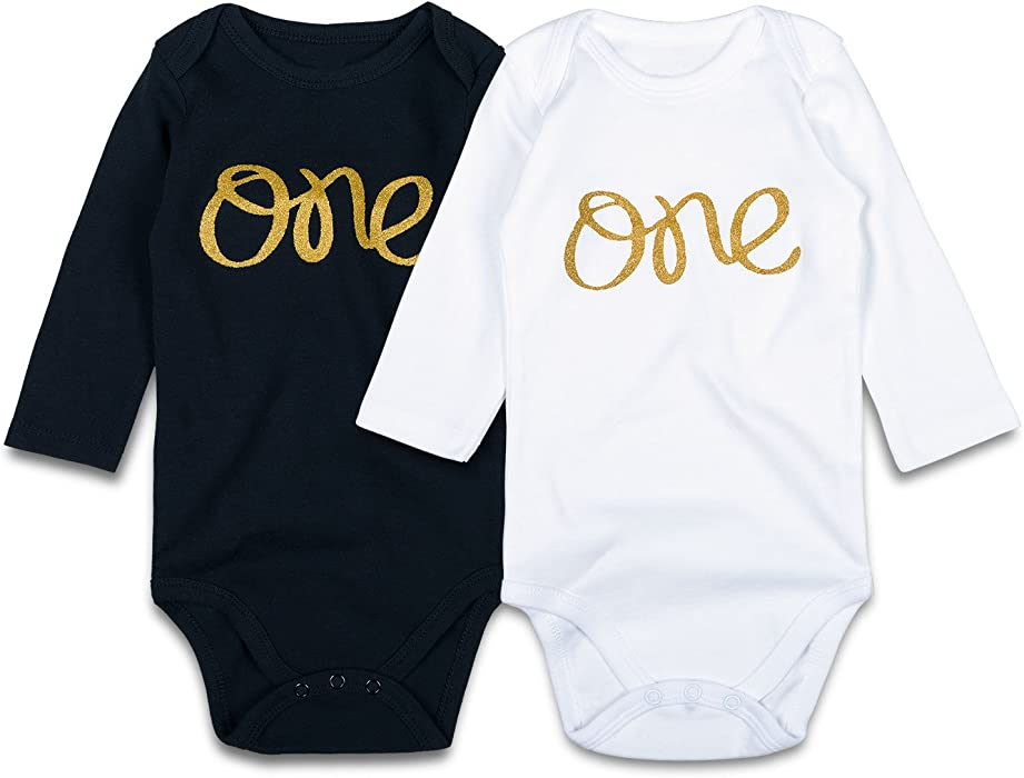 d01e400723 SOBOWO Baby 1st Birthday Gold One Bodysuits Outfit for Girls Boys ...
