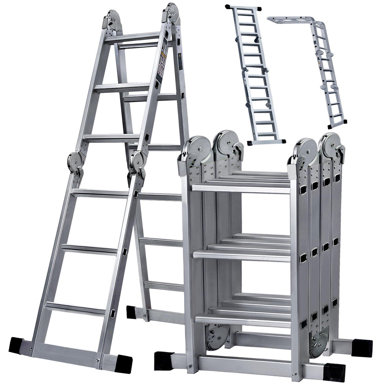 Oyeye 11.7ft Aluminum Folding Ladder Multipurpose Extendable Ladder Safety Locking Hinges 330 Pound Capacity Anti-slip Design