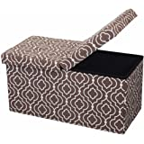 Otto & Ben  Folding Toy Box Chest with SMART LIFT Top, Mid Century Upholstered Ottomans Bench Foot Rest, Moroccan Brown