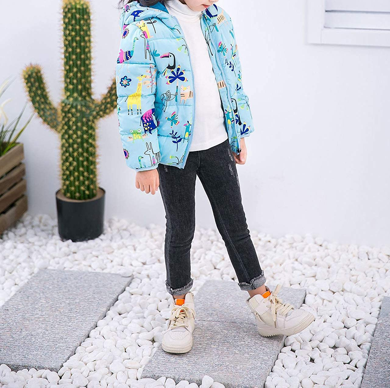 HROUEN Infant Girls Coat Lightweight Warm Cartoon Printed Baby Wear Winter Down Cotton Outfits Jacket Clothes
