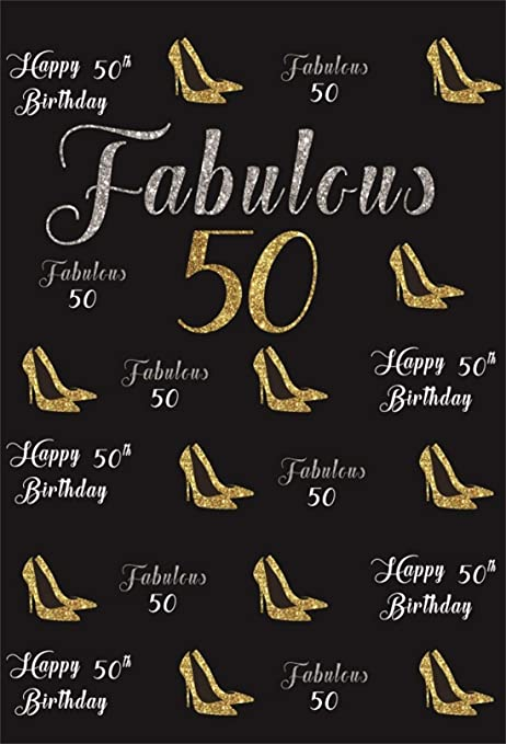 Yeele 5x7ft Lady Mothers 50th Birthday Party Backdrop Customizable Women Fabulous Fifty Years Old Word Clouds