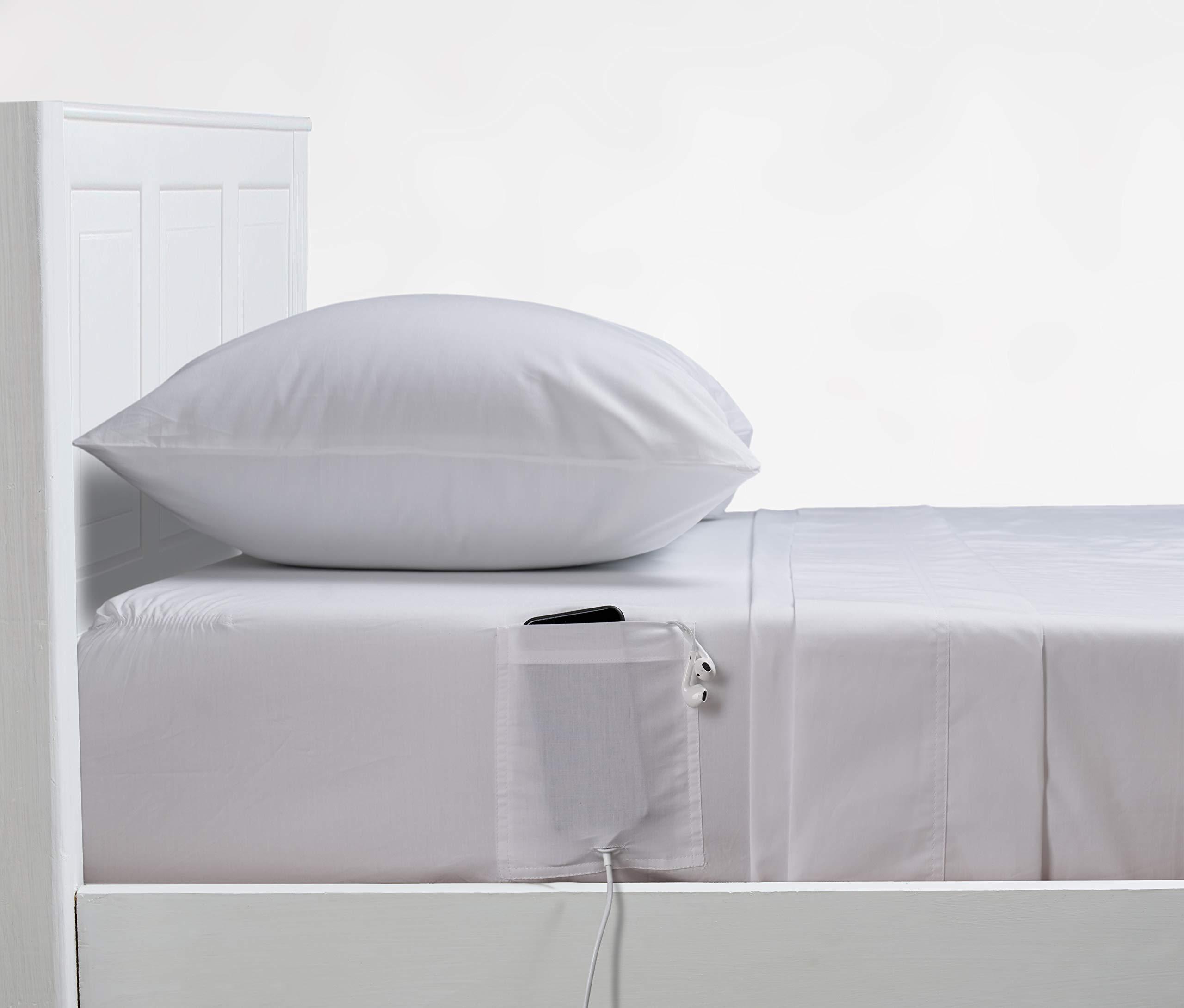 Distinct Dorm Sheet Set with Cell Phone Pocket on Each Side -Soft & Smooth 3 Piece Cotton Sheet Set, Fits Upto 15'' DEEP Pocket, Luxury Hotel Bedding, Oeko-TEX Certified, Brilliant White, Twin/Twin XL