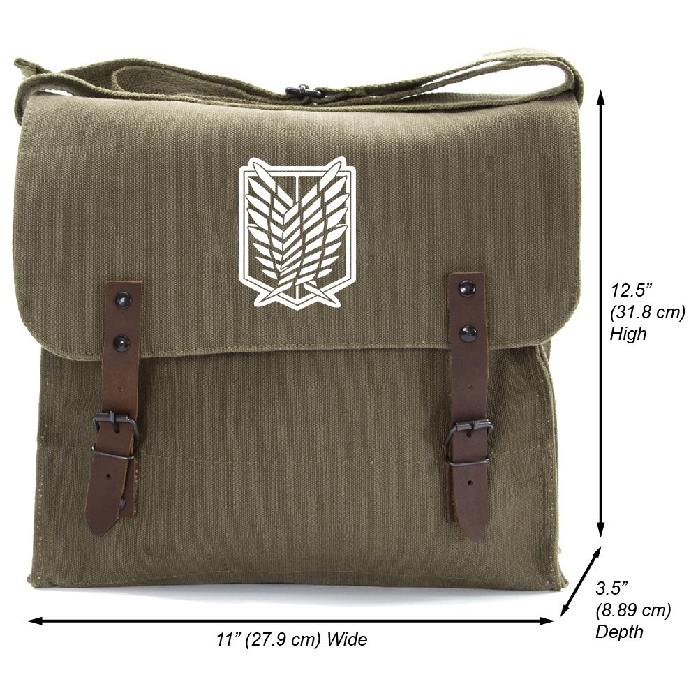 Attack on Titan Dual Wing Heavyweight Canvas Medic Shoulder Bag, Olive & White