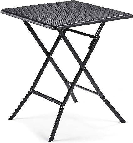SONGMICS Table de Camping Table Pliante Table de Jardin Table de fête  Buffet Table 61 x 75 x 61 cm Aspect rotin en Plastique pour Jardin, Balcon,  ...