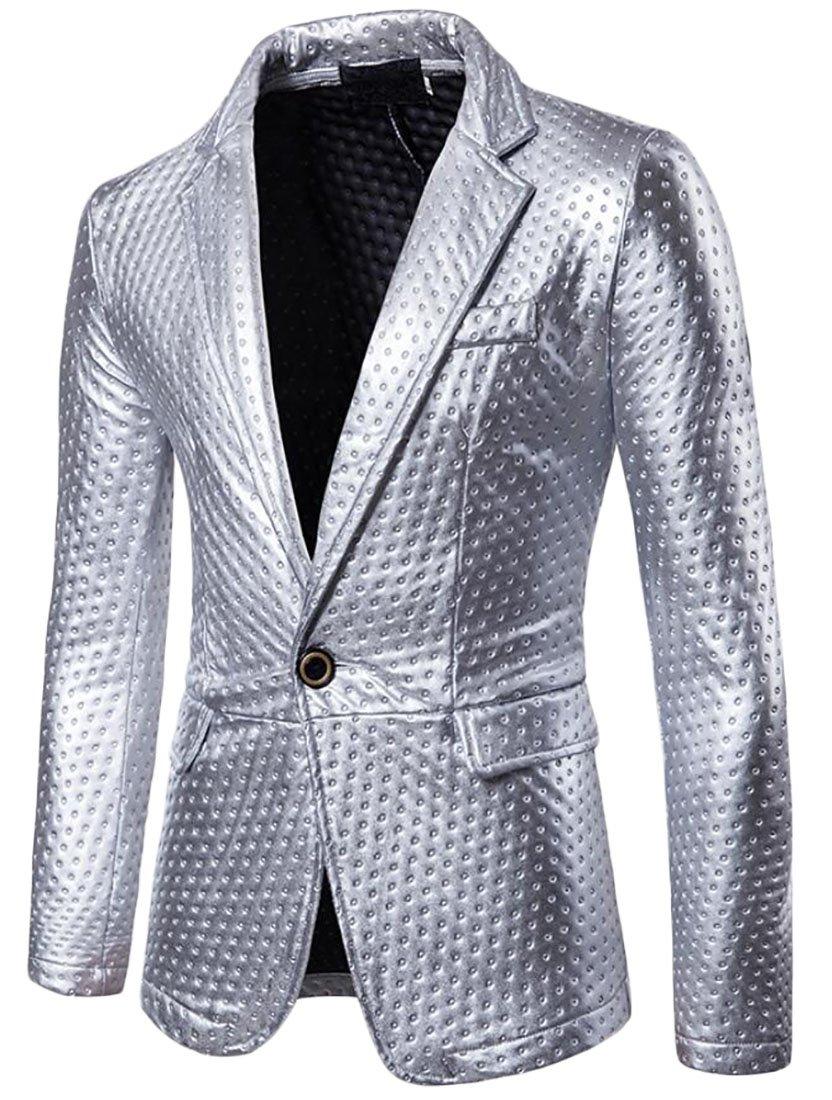 Domple Men's Sequins One Button Tuxedo Party Wedding Dance Suit Blazer Jackets 1 US XL