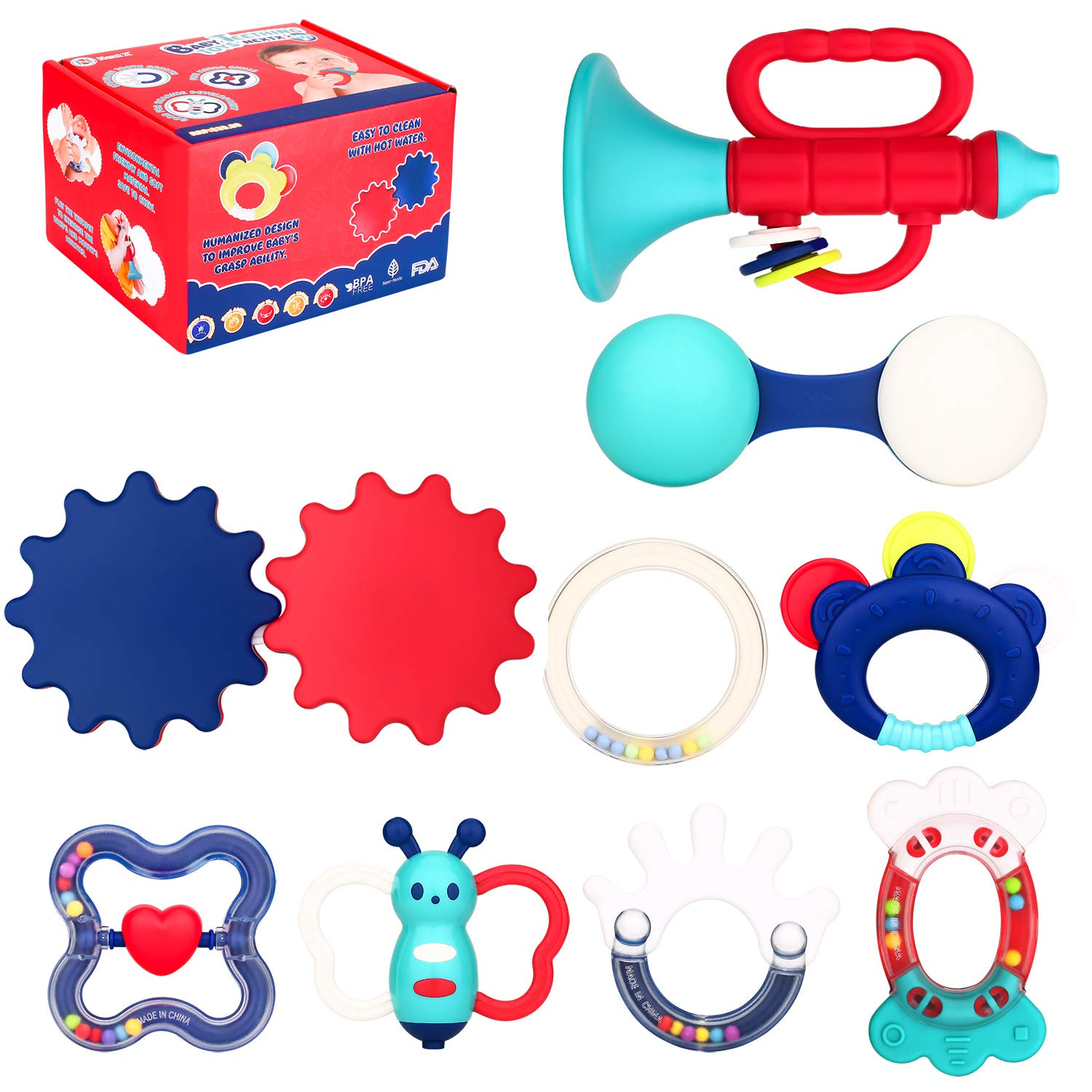 Biulotter 9 Pack Teether Rattle Set Baby Teething Toys Infant Training Toy Case