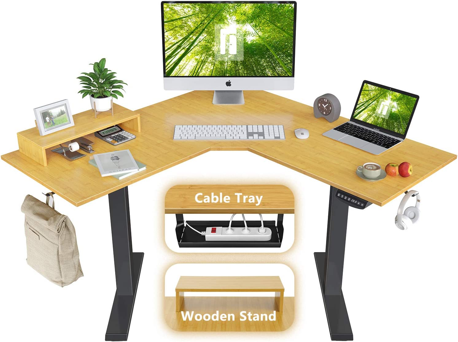FEZIBO L-Shaped Electric Standing Desk, 48 Inches Height Adjustable Corner Desk, Full Sit Stand Home Office Table with Splice Board, Black Frame/Bamboo Top
