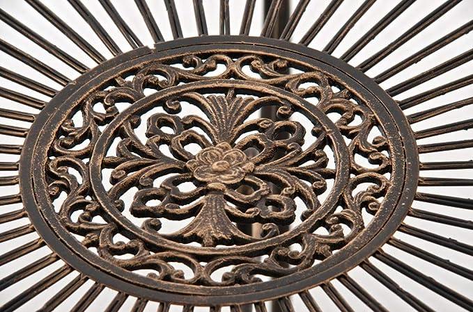 Mesa de Jard/ín en Hierro Sheela Color:Antiguo marr/ón Mesa Redonda /Ø 76 cm en Estilo Medieval Mesa de Exterior Estilo R/ústico Color: