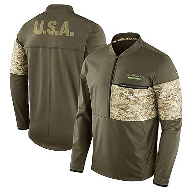 Nike Seattle Seahawks Hybrid Salute To Service Half-Zip Sideline Jacket  (Large) f87b0e33b