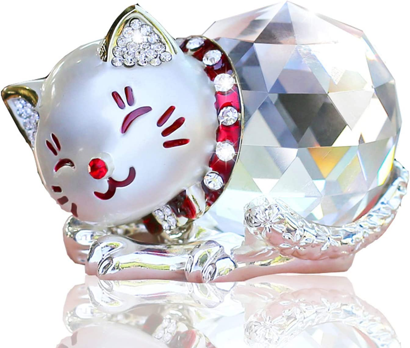 Hoobar Alloy Crystal Lucky Cat Figurine for Wedding,Birthday,Car and Home Decoration Furnishing Article (Silver)