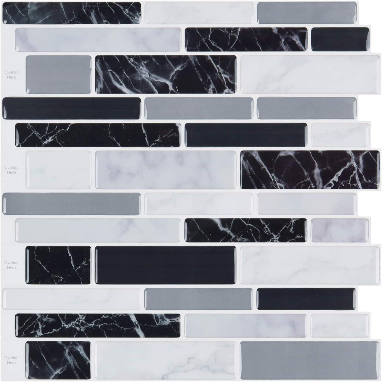 LONGKING 10-Sheet Peel and Stick Tile Backsplash, Vinyl 3D Self-Adhesive Tile Stickers for Kitchen, Bathroom, Counter Top, Marble 79 …
