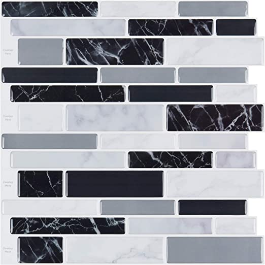 10 Black /& Grey 3D Glass Kitchen Bath Wall Mosaic Backsplash Tiles